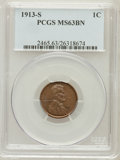 Lincoln Cents: , 1913-S 1C MS63 Brown PCGS. PCGS Population (51/36). NGC Census:(74/62). Mintage: 6,101,000. Numismedia Wsl. Price for prob...