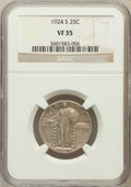 Standing Liberty Quarters: , 1924-S 25C VF35 NGC. NGC Census: (3/327). PCGS Population (7/463).Mintage: 2,860,000. Numismedia Wsl. Price for problem fr...