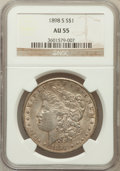 Morgan Dollars: , 1898-S $1 AU55 NGC. NGC Census: (163/2140). PCGS Population(185/3679). Mintage: 4,102,000. Numismedia Wsl. Price for probl...