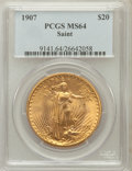 Saint-Gaudens Double Eagles: , 1907 $20 Arabic Numerals MS64 PCGS. PCGS Population (4288/2485).NGC Census: (2057/811). Mintage: 361,667. Numismedia Wsl. ...
