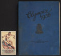 Olympic Collectibles:Autographs, 1932-36 Olympic Yearbook With Photos & Postcard. ...