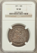 Seated Half Dollars: , 1871 50C VF30 NGC. NGC Census: (4/124). PCGS Population (4/152).Mintage: 1,204,560. Numismedia Wsl. Price for problem free...