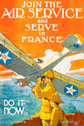 Fine Art - Work on Paper:Print, T. PAUL VERREES (Belgian, 1889-1942). Join The Air Service andServe in France, Do It Now, 1917. Color lithograph. 44 x ...