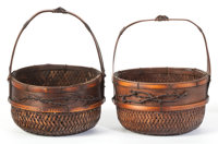 A PAIR OF ORIENTAL BASKETS 19th century 9-1/2 x 8-1/2 inches (24.1 x 21.6 cm) Reed  The Elton M. Hyde