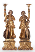 Furniture , A PAIR OF FIGURAL PRICKET CANDLESTICKS. 17th century. 30 inches high (76.2 cm). The Elton M. Hyder, Jr. Charitable and Edu... (Total: 2 Items)