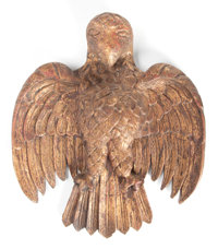 A MEXICAN CARVED GILT WOOD EAGLE 20th century 21-1/2 x 17 inches (54.6 x 43.2 cm)  The Elton M. Hyder, Jr