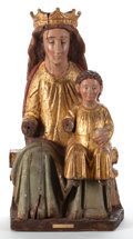 Fine Art - Sculpture, European:Antique (Pre 1900), A CARVED SPANISH POLYCHROME AND GILT WOOD FIGURE OF THE MADONNA ANDCHILD. Circa 1640. 29 x 12-1/2 inches (73.7 x 31.8 cm). ...