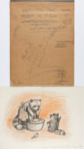 Books:Prints & Leaves, Garth Williams. Original Litho Crayon Study for Wait Till theMoon Is Full. Initialed by Williams. [N.p., n.d.]....