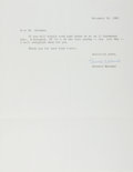 Autographs:Authors, Bernard Malamud, American Writer. Typed Letter Signed. Verygood....