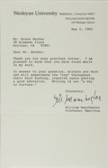 Autographs:Authors, William Manchester, American Author. Typed Letter Signed. Fine....