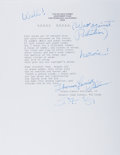 """Autographs:Authors, Tennessee Williams, American Author and Playwright. Typed Poem Signed """"Thomas Lanier Williams"""". San Francisco, circa 1981. F..."""
