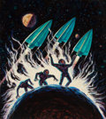 Pulp, Pulp-like, Digests, and Paperback Art, JACK GAUGHAN (American, 1930-1985). Dimension 4, PyramidAnthology, paperback cover, 1964. Acrylic on masonite. 18 x 16...