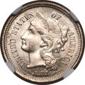 Three Cent Nickels, 1867 3CN MS67 NGC....