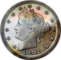 Proof Liberty Nickels, 1901 5C PR66+ Cameo PCGS. CAC....