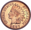 Proof Indian Cents, 1897 1C PR65 Red Cameo PCGS....