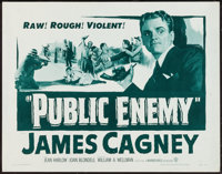 "The Public Enemy (Warner Brothers, R-1954). Half Sheet (22"" X 28""). Crime"