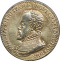 Betts Medals, Betts-8. 1570 Marriage of Philip II and Anne of Austria. WhiteMetal, silver-gold rinse. XF....