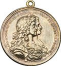 Betts Medals, Betts-67, clouds variant. 1687 Silver Shoals Treasure Recovery. Silver, gilt. VF, hanger....