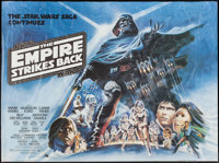 "The Empire Strikes Back (20th Century Fox, 1980). British Quad (30"" X 40"") White Title Style. Science Fiction..."