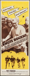 "Movie Posters:Sports, Knute Rockne - All American (Dominant, R-1956). Insert (14"" X 36""). Sports.. ..."