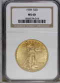 Saint-Gaudens Double Eagles: , 1909 $20 MS60 NGC. NGC Census: (66/756). PCGS Population (67/1347).Mintage: 161,282. Numismedia Wsl. Price: $690. (#9150)...
