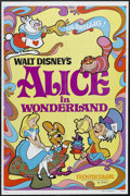 "Movie Posters:Animated, Alice in Wonderland (Buena Vista, R-1981). One Sheet (27"" X 41"").Animated Musical. Starring the voices of Kathryn Beaumont,..."