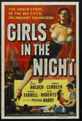 "Movie Posters:Crime, Girls in the Night (Universal International, 1953). One Sheet (27""X 41""). Crime Drama. Starring Joyce Holden, Harvey Lembec..."