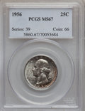 Washington Quarters: , 1956 25C MS67 PCGS. PCGS Population (103/1). NGC Census: (440/1).Mintage: 44,100,000. Numismedia Wsl. Price for problem fr...