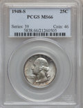 Washington Quarters: , 1948-S 25C MS66 PCGS. PCGS Population (791/45). NGC Census:(1146/281). Mintage: 15,960,000. Numismedia Wsl. Price for prob...