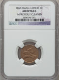 Flying Eagle Cents, 1858 1C Small Letters -- Improperly Cleaned -- NGC Details. AU. NGCCensus: (0/3). PCGS Population (47/718). Numismedi...