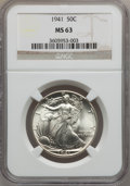 Walking Liberty Half Dollars: , 1941 50C MS63 NGC. NGC Census: (634/8314). PCGS Population(1329/11587). Mintage: 24,207,412. Numismedia Wsl. Price for pro...