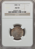 Liberty Nickels: , 1884 5C AU55 NGC. NGC Census: (9/360). PCGS Population (20/431).Mintage: 11,273,942. Numismedia Wsl. Price for problem fre...