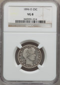Barber Quarters: , 1896-O 25C VG8 NGC. NGC Census: (2/97). PCGS Population (5/135).Mintage: 1,484,000. Numismedia Wsl. Price for problem free...
