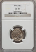 Buffalo Nickels: , 1927-S 5C XF45 NGC. NGC Census: (19/447). PCGS Population (35/693).Mintage: 3,430,000. Numismedia Wsl. Price for problem f...