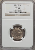 Buffalo Nickels: , 1917-D 5C VF35 NGC. NGC Census: (10/693). PCGS Population(16/1037). Mintage: 9,910,000. Numismedia Wsl. Price for problem...