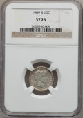 Barber Dimes: , 1909-S 10C VF25 NGC. NGC Census: (3/78). PCGS Population (3/92).Mintage: 1,000,000. Numismedia Wsl. Price for problem free...