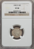Barber Dimes: , 1902-S 10C VF30 NGC. NGC Census: (6/60). PCGS Population (1/121).Mintage: 2,070,000. Numismedia Wsl. Price for problem fre...