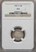Barber Dimes: , 1901-S 10C Good 4 NGC. NGC Census: (11/98). PCGS Population(12/164). Mintage: 593,022. Numismedia Wsl. Price for problem f...