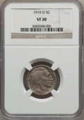 Buffalo Nickels: , 1919-D 5C VF30 NGC. NGC Census: (30/464). PCGS Population (34/663).Mintage: 8,006,000. Numismedia Wsl. Price for problem f...