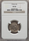 Buffalo Nickels: , 1918-D 5C VF25 NGC. NGC Census: (26/497). PCGS Population (24/802).Mintage: 8,362,000. Numismedia Wsl. Price for problem f...