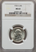 Washington Quarters: , 1935-S 25C MS63 NGC. NGC Census: (154/763). PCGS Population(268/1367). Mintage: 5,660,000. Numismedia Wsl. Price for probl...