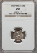 Seated Dimes: , 1854 10C Arrows XF45 NGC. NGC Census: (10/183). PCGS Population(12/178). Mintage: 4,470,000. Numismedia Wsl. Price for pro...
