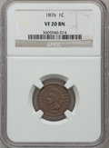 Indian Cents: , 1876 1C VF20 NGC. NGC Census: (14/614). PCGS Population (13/418).Mintage: 7,944,000. Numismedia Wsl. Price for problem fre...