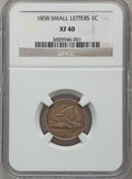 Flying Eagle Cents: , 1858 1C Small Letters XF40 NGC. NGC Census: (0/3). PCGS Population(93/864). Numismedia Wsl. Price for problem free NGC/PC...