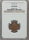 Lincoln Cents: , 1912-S 1C AU58 NGC. NGC Census: (76/296). PCGS Population (75/163).Mintage: 4,431,000. Numismedia Wsl. Price for problem f...