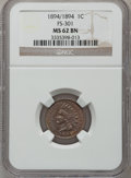 Indian Cents, 1894 1C Doubled Date MS62 Brown NGC. Snow-1, FS-301....
