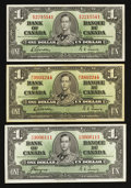 Canadian Currency: , BC-21c $1 1937 Two Examples;. BC-21d $1 1937.. ... (Total: 3 notes)