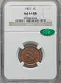 Indian Cents, 1872 1C MS64 Red and Brown NGC. CAC. Snow-11....