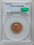 Lincoln Cents, 1913-S 1C MS64 Red PCGS. CAC....
