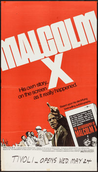 """Malcolm X (Warner Brothers, 1972). One Sheet (25"""" X 44""""). Documentary"""